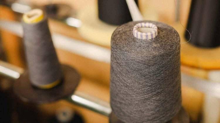 yarn on knitting machine