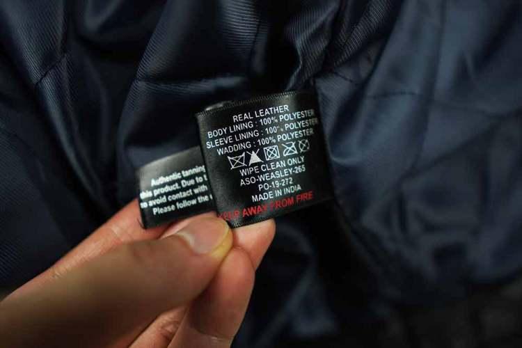 Barneys Originals Leather Jacket Care Label