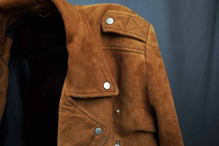 tan suede biker jacket collar shoulder