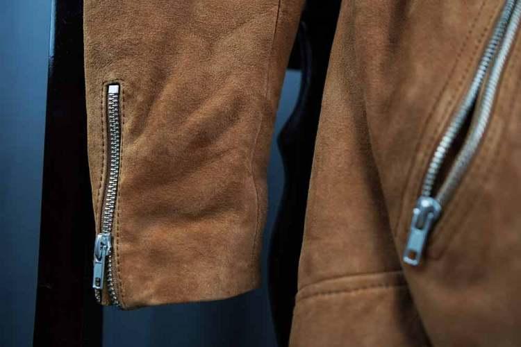 tan suede biker jacket zipper details