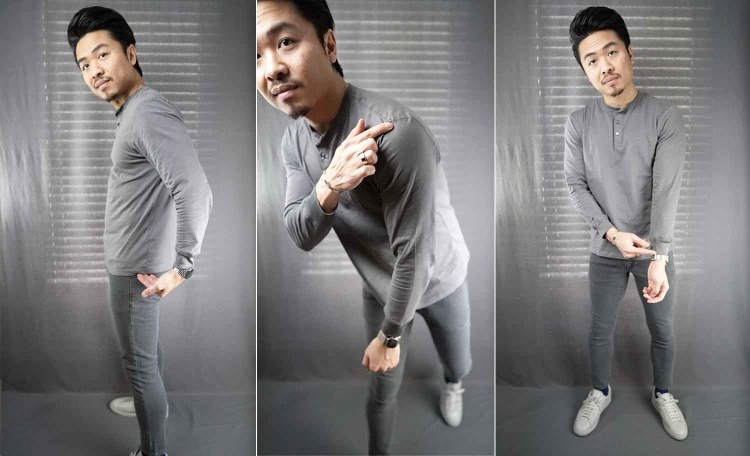 gray long sleeve henley