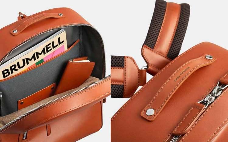 bowen leather backpack details