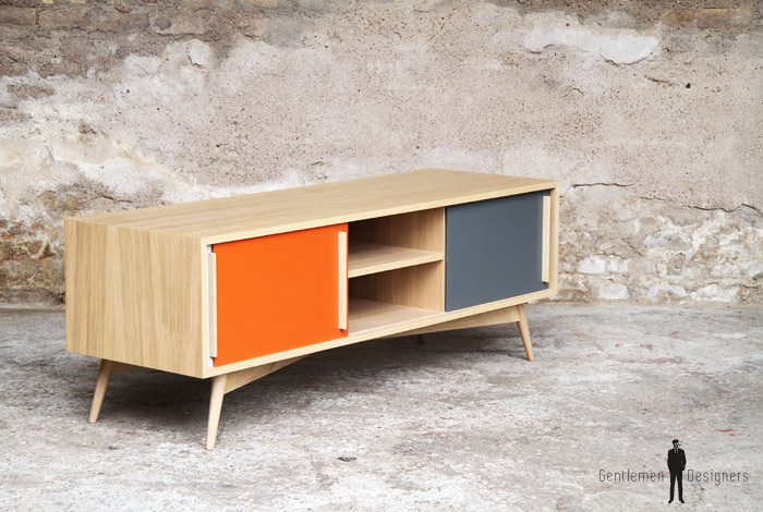 MEUBLE TV HIFI BAS ORANGE Scandinave Vintage Made In