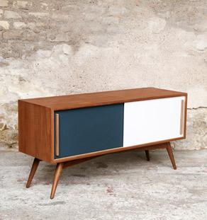 meuble tv en teck comprenant 2 portes anthracite et blanc