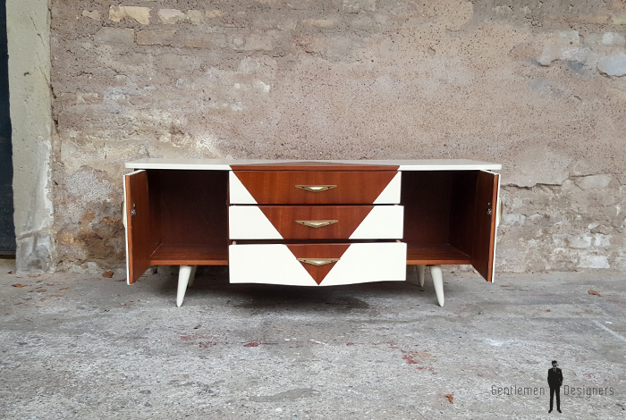 petit meuble tv hifi vintage scandinave motif graphique