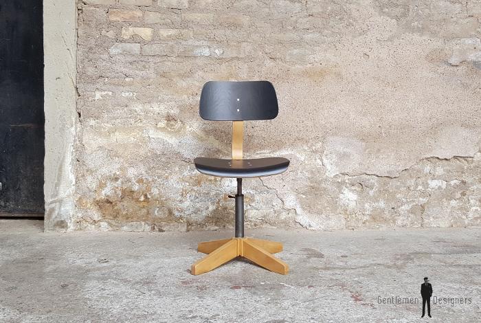 Chaise Mtal Bois Noir Vintage Atelier Pivotante Pied En