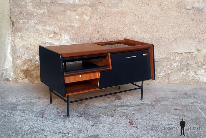 meuble vintage teck radio detourne philips annees 70