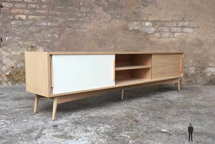 meuble tv en chene avec 3 portes coulissantes chene et blanc