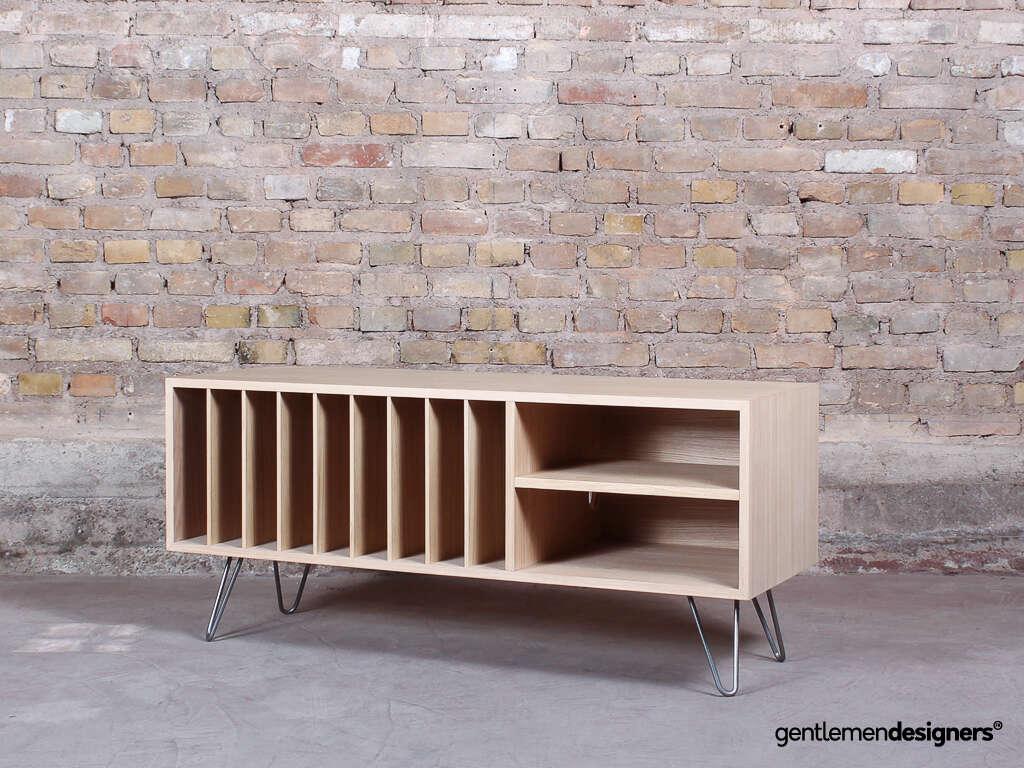 meuble de rangement pour vinyles ampli platine en chene