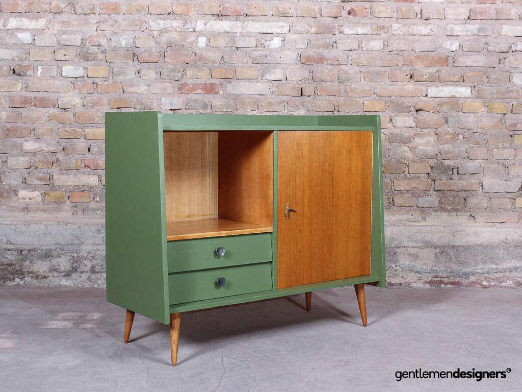 buffet vaisselier meuble tv vintage annees 50 sur pieds compas bois et vert