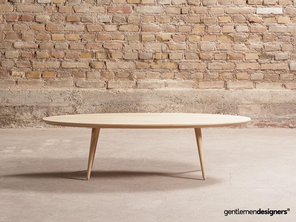 table basse ovale sur mesure avec pieds compas chene massif 140x60cm