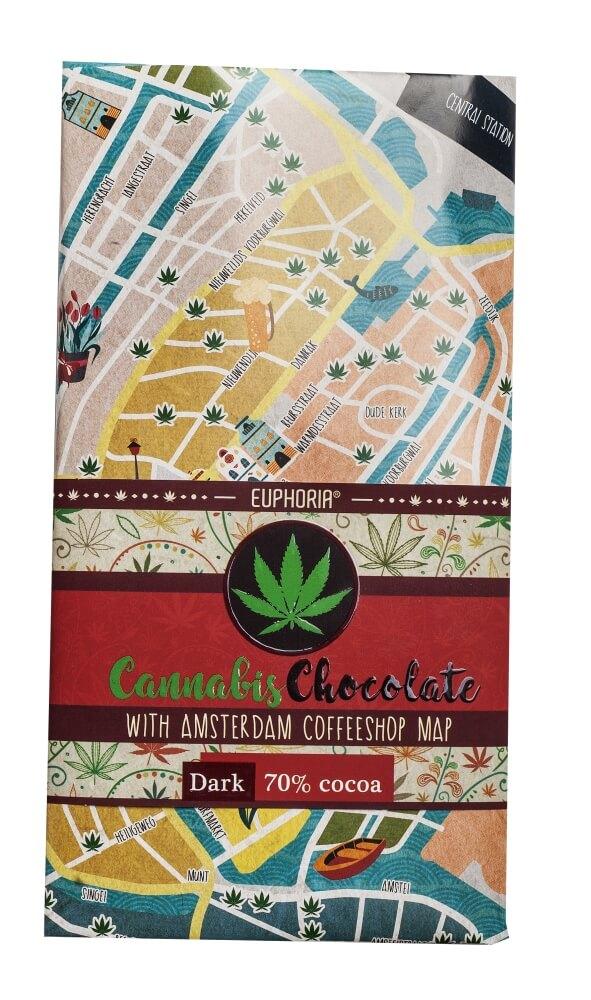 Cannabis Chocolate Dark Amsterdam Coffeshops Map 1