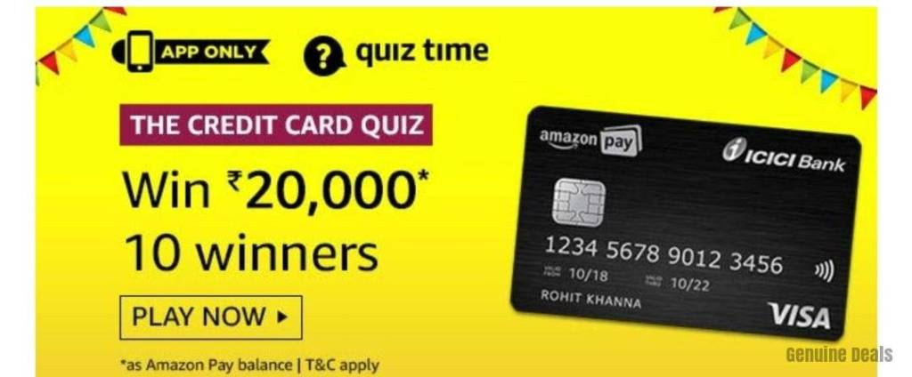 Amazon The Credit Card Quiz Answers – Win Rs.10,000