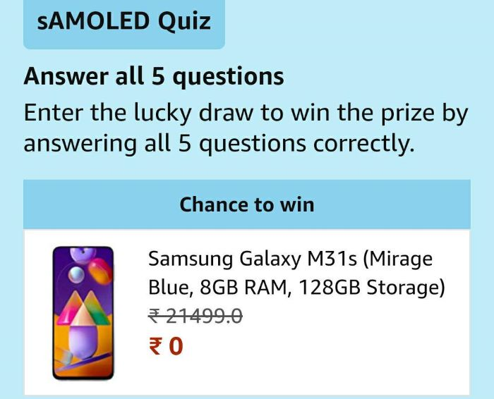 Amazon Samsung Quiz Answers – Win Samsung Galaxy M31s & S20 FE