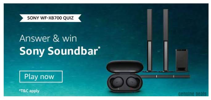Amazon Sony WF-XB700 Quiz Answers – Win Sony Soundbar