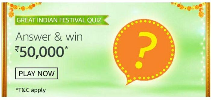 Amazon Great India Festival Quiz Answers – Win Rs. 1 Lakh
