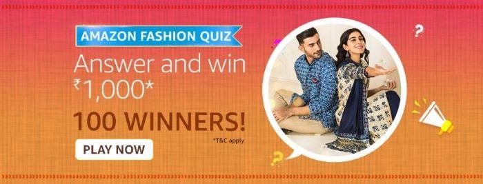 Amazon Fashion Quiz Answers – Win Rs. 1,000 Paybalance
