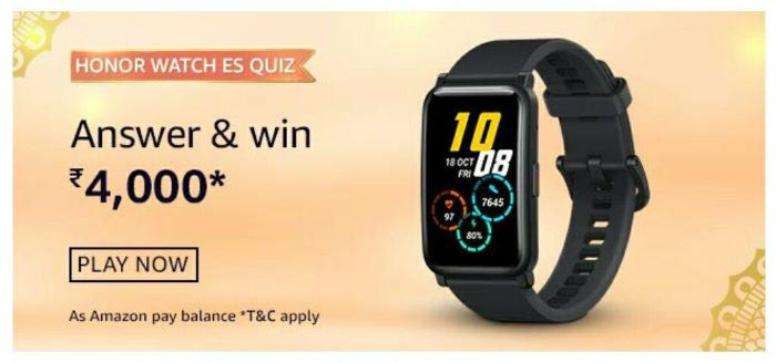 Amazon Honor Watch ES Quiz Answers – Win Rs. 4,000 Paybalance