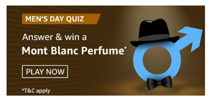 Amazon Mens Day Quiz Answers – Win Mont Blanc Perfume