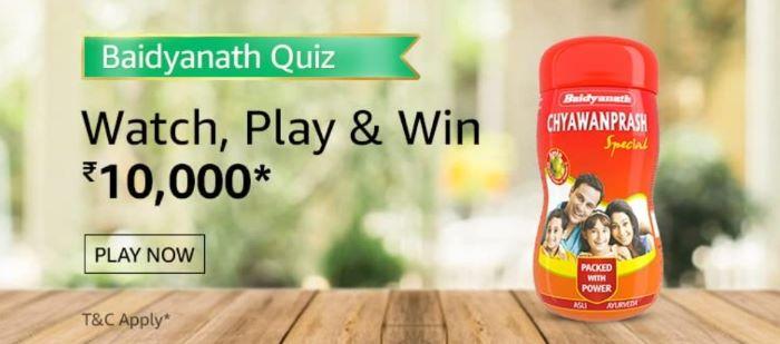 Amazon Baidyanath Quiz Answers – Win Rs.10,000 Paybalance