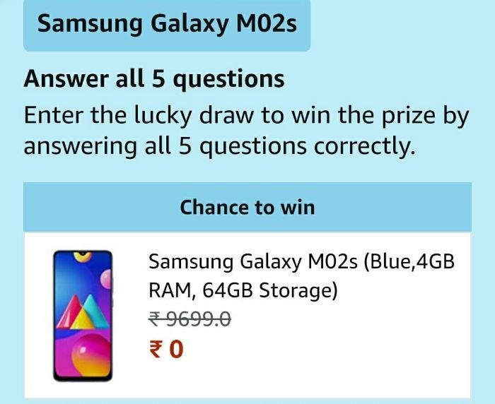 Amazon Galaxy M02s Quiz Answers – Win Samsung Galaxy M02s