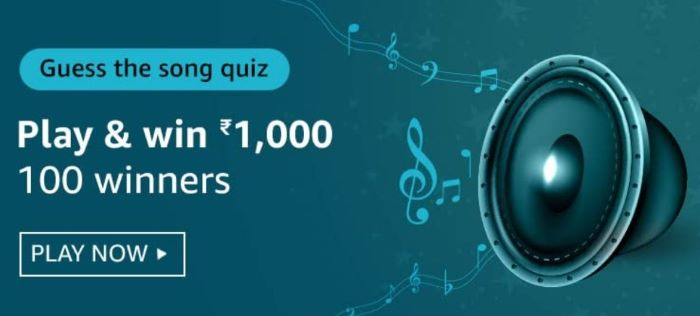 Amazon Guess The Song Quiz Answers – Win Rs.1,000