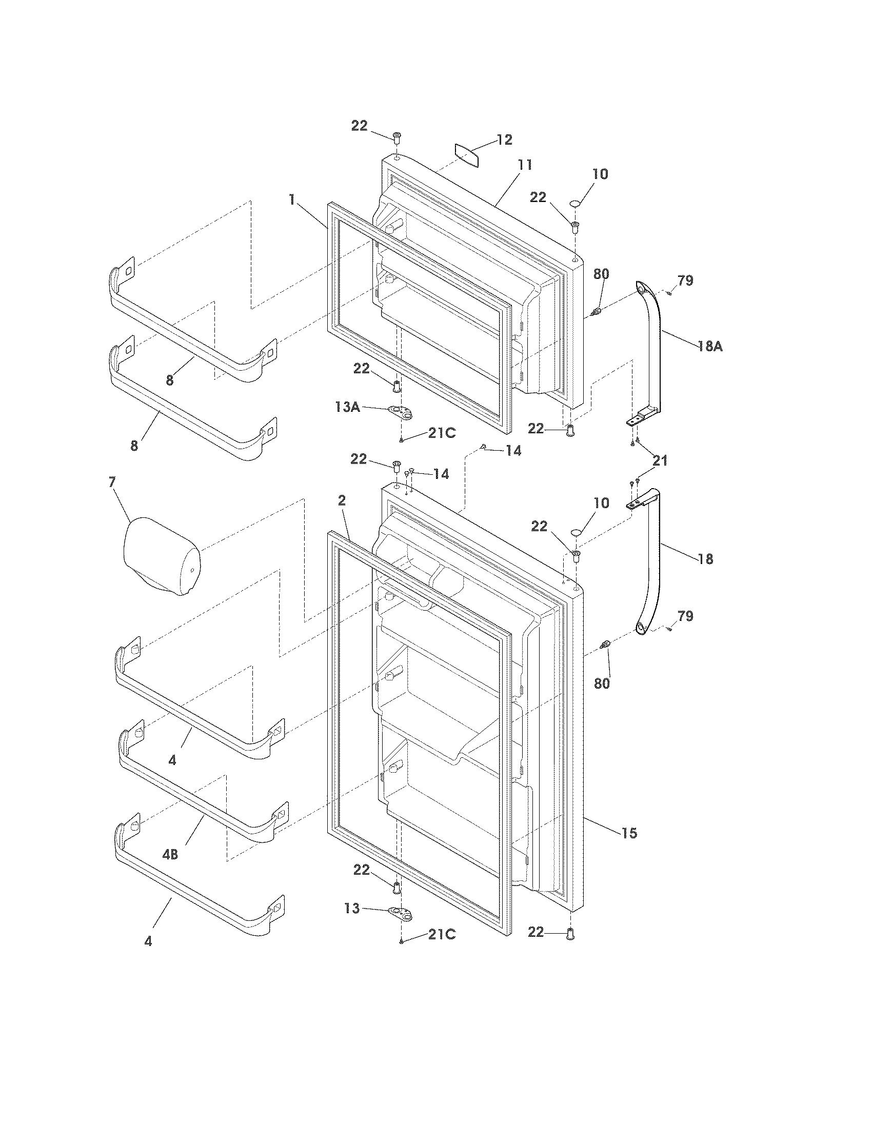 Frigidaire Fftr18d2ps4 Refrigerator Door Gasket