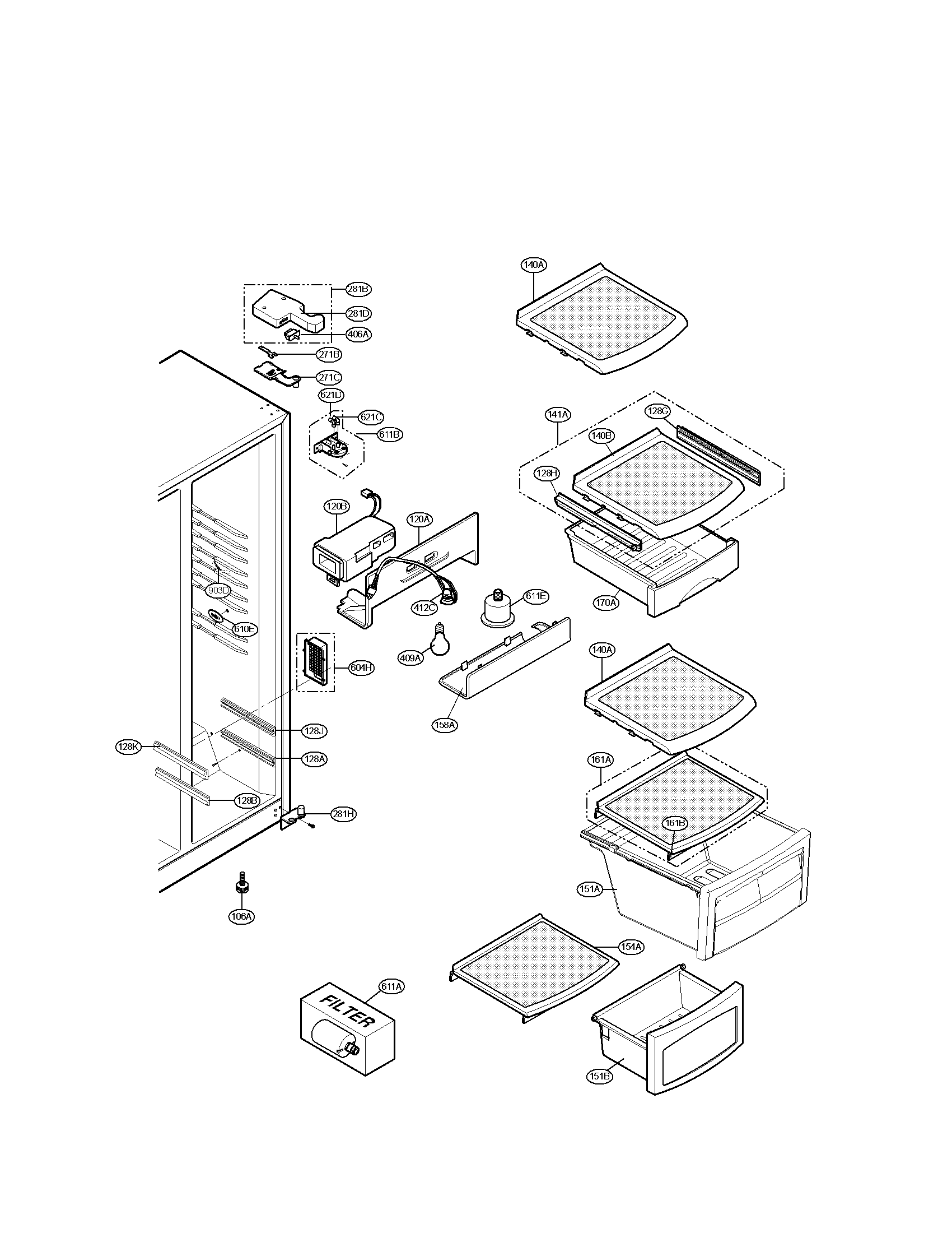 Lg Lsc Tt Pull Out Shelf Guide Rail Assembly