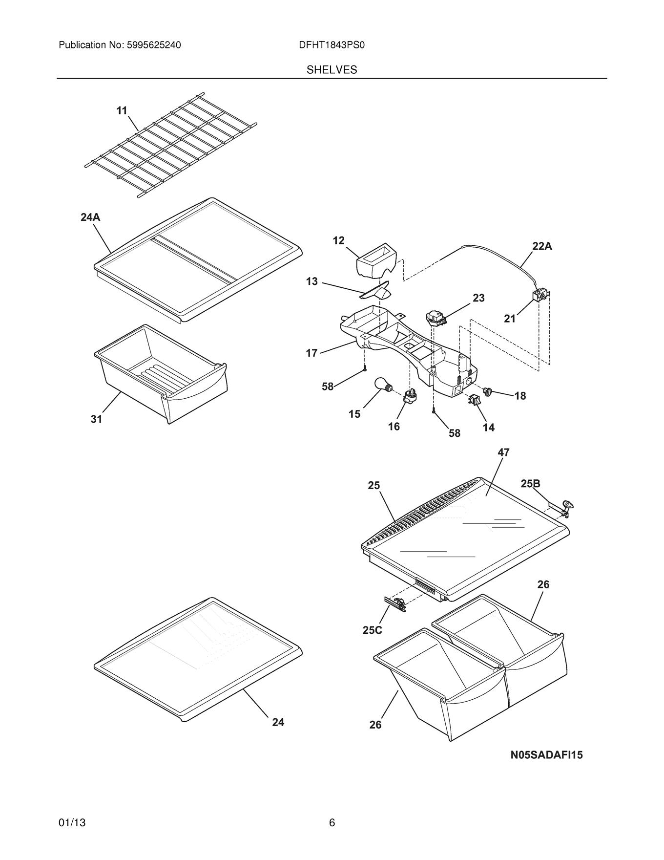 Frigidaire Dfht Ps0 Freezer Wire Shelf Genuine Oem