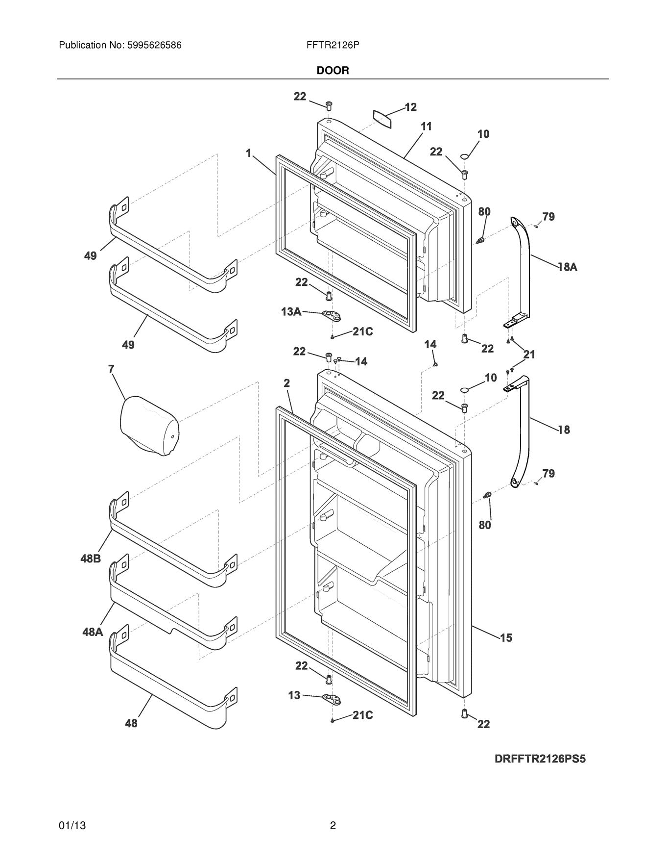Frigidaire Fftr Ps5 Refrigerator Bottom Door Shelf Bin