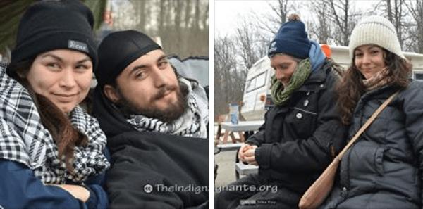 Anarchists Sakura Saunders, Darius Mirshahi, Dave Vasey & Lana Goldberg at the Sarnia blockade