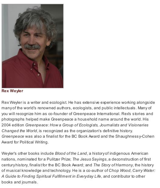 UFV's original biography for Rex Weyler...