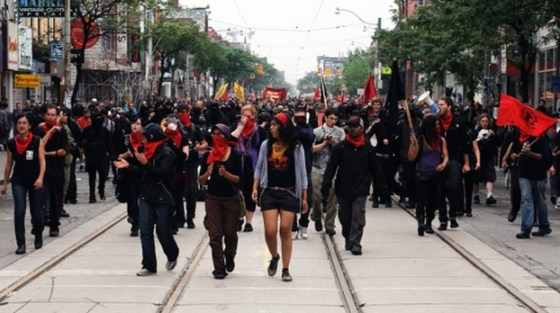 Harjap Grewal marching with the Black Bloc during the Toronto G20...