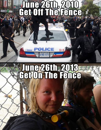 Top: G20 anarchists doing their stuff. Bottom: Patricia 'Trish' Mills at Swamp Line 9