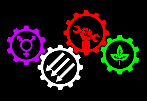 Purple=Feminism, White=Anarchism, Red=Militant Labour, Green=Environmentalism