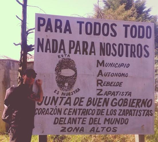 Jeh Custerra visiting a Zapatista camp in Mexico
