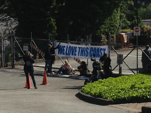 Protesters at the May blockade of a Chevron property in Burnaby, BC