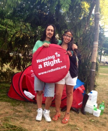 Spokesperson Audrey Siegl and Dan Wallace at the camp