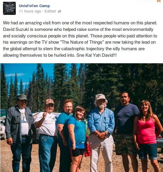David Suzuki with the RCMP designated extremist Unist'ot'en Camp