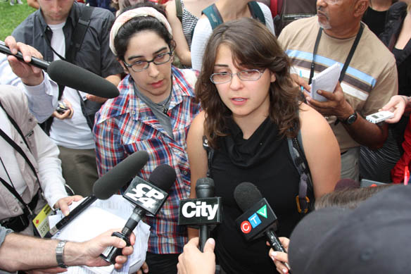 Claudia Calaboro (left) with Maryam Adrangi (right) of No One Is Illegal