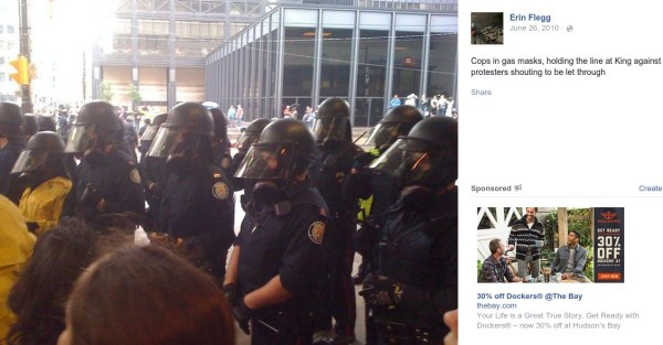 Flegg was right on the front-lines during the Toronto G20...