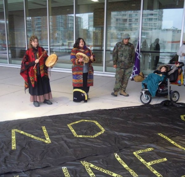 Carrie Lester, Cathy Walker, Davin Ouimet prepare to march...