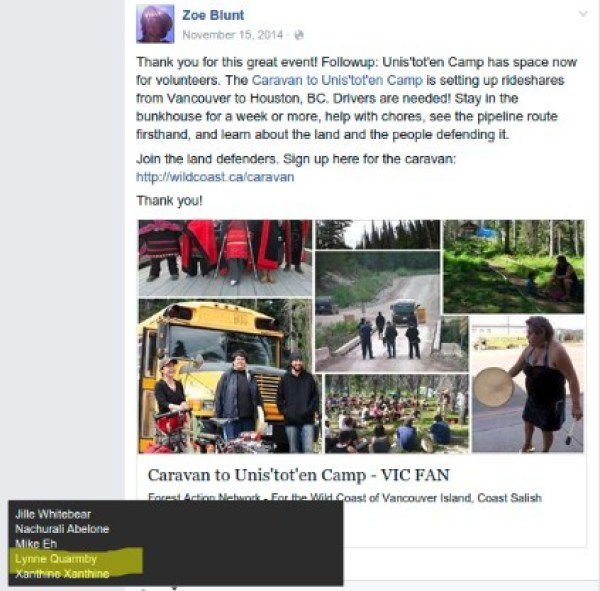 Lynne Quarmby supports Zoe Blunt and the violent Unist'ot'en Camp?