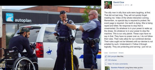 "Green Party MP candidate calls RCMP ""silly men in silly blue suits""."