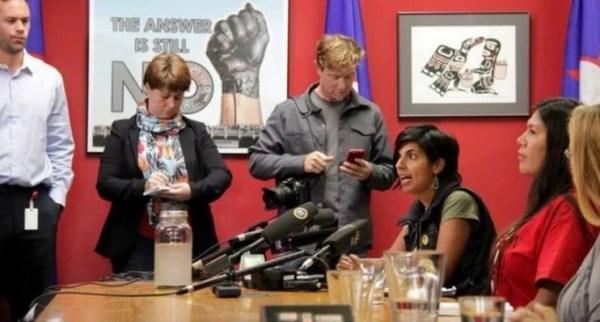 Anushka Nagji holding a press conference at UBCIC headquarters