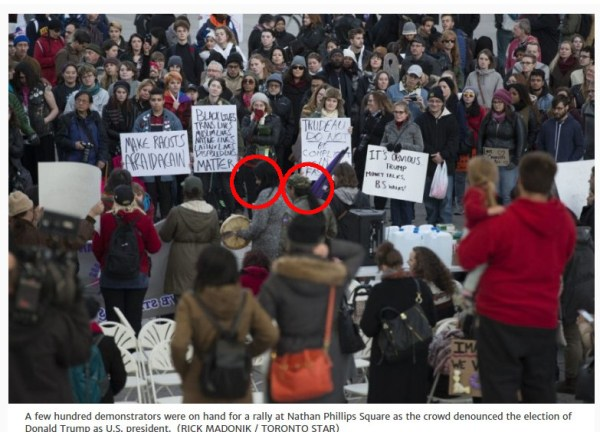 "Cathy Walker (left circle) with Davin Ouimet (right circle) at ""Anti-Racist"" Trump protest"