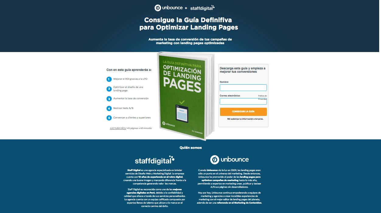 Errores en la creacion de tu Landing Page ejemplo unbounce