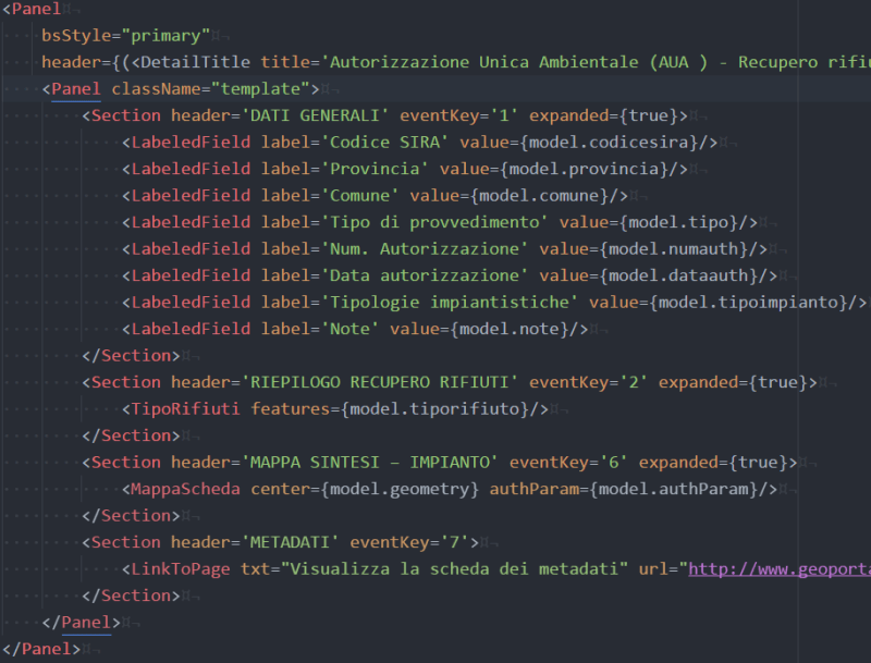 JSX based templating system for advanced data viewing - Sample Template