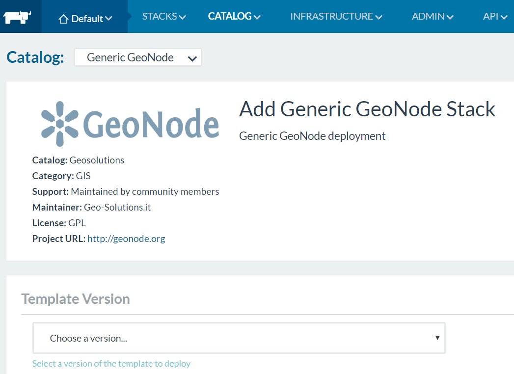 One click away from GeoNode with Rancher and Docker