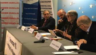 Anthea McIntyre, co-chair of the Friends of Kashmir Group in the European Parliament, and her fellow MEP, Julie Ward, noted photojournalist of Belgium Cédric Gerbehaye, Chairman Kashmir Council EU Ali Raza Syed and former ambassador of EU Anthoney Crasnerwere among the speakers at the event